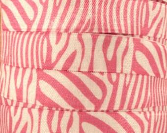 5/8 inch - LIGHT PINK Zebra on White - Fold Over Elastic FOE for Headband