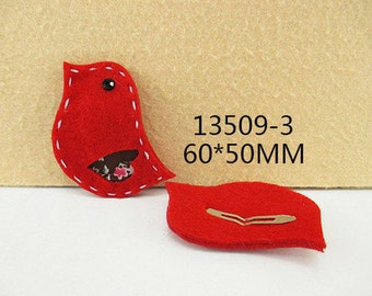 1 PIECE - RED Felt Bird / Birdie Hair Clip Hairclip  - Accent - Resin