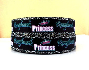 1 inch ROUGHNECK PRINCESS on Black Teal Letters - Printed Grosgrain Ribbon for Hair Bow