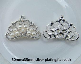 1 Piece - 50mm x 35mm - Rhinestone and Pearl Crown Accent - Princess - High Quality - Metal - Crystal - Flat Back Flatback