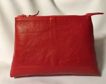 Red leather cosmetic bag - makeup bag - pouch