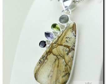 PICTURE Jasper Ruby AMETHYST PERIDOT 925 Solid Sterling Silver Pendant + 4mm Snake Chain & Free Worldwide Shipping P1720