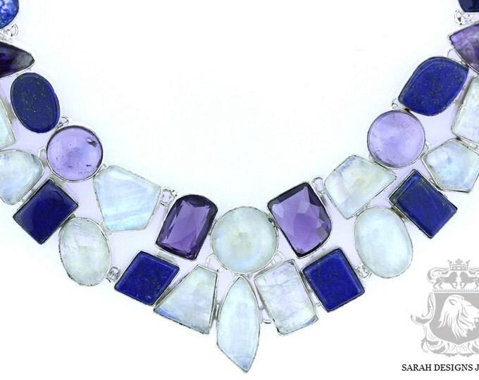 Ceylon Moonstone Lapis Lazuli Amethyst 925 SOLID Sterling Silver Necklace