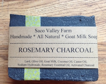 Rosemary Charcoal Goat Milk Soap, All Natural, Handmade Cold Process, Activated Charcoal, Rosemary Essential Oil