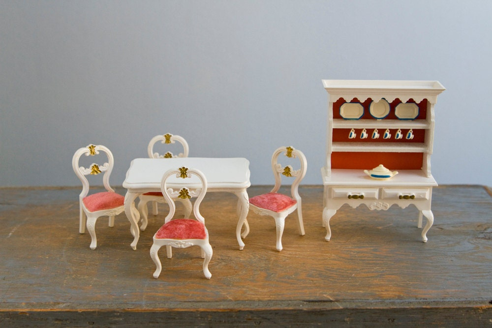 Lundby Table Chairs And Kitchen Hutch Set Vintage Plastic