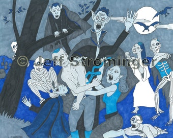 Vampires and Zombies Halloween Art Drawing of Ghouls