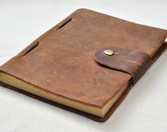 light brown  Leather Journal personalized  Sketchbook - Personalized notebook (free stamp)