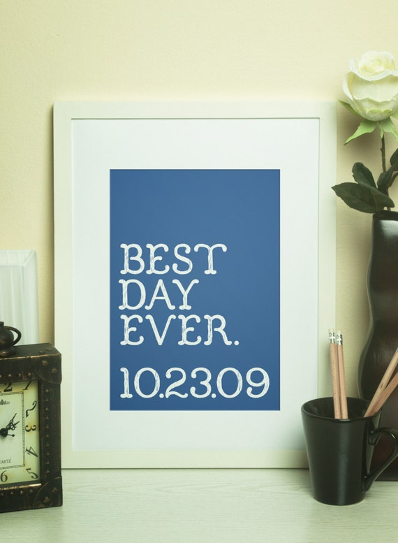 Custom Home Decor BEST DAY EVER with Wedding Date Wall Art