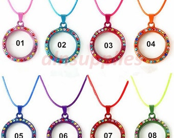 8pcs - colored crystal floating lockets, 30mm round glass colored lockets, rhinestone locket, memory floating lockets 8 colors