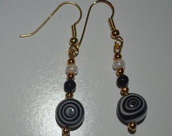 black and white beaded swirl earrings