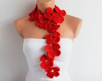 Red Flower Scarf Hand Crochet Lariat Scarf