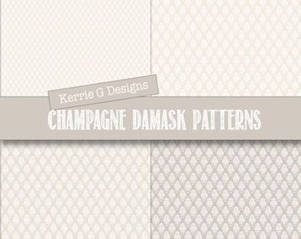Wedding Digital paper pack, Commercial wedding invitation supplies, Downloadable, champagne damask patterned paper, printable wedding paper