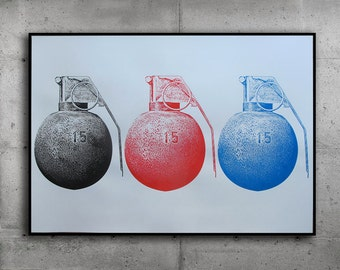 Grenades |poster screenprint | serigraphy | limited edition of 30