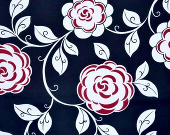 Half Yard of Cotton Quilt Fabric Opposites Attract VIP Cranston Large flowers black white red TTO110 DV2