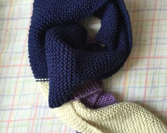 Adult Color Tipped Scarf - Lilac/Navy Blue/Cream