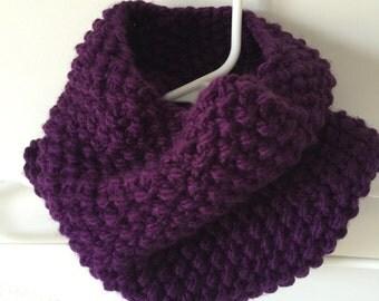 Dark Purple Hand Knit Neck Warmer/Scarf