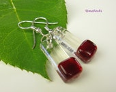 Handcrafted Fused Glass Dangling Earrings - Wild Cherry Red and Clear Drop Earrings with Sterling Silver Ear Wires