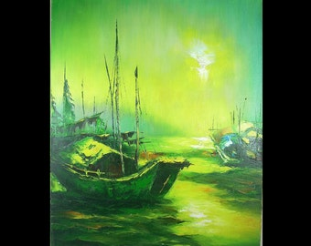 Seascape Oil Painting on Canvas Chinese Junks