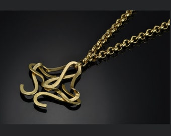 Infinity necklace, Unique necklace, Gold necklace, calligraphy necklace, Gold pendant