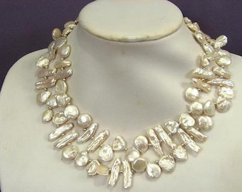 """Necklace 2S White Keishi, Briolette and Stick Pearls 18/36"""" NHKW0829"""
