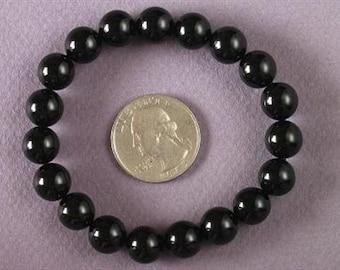 Bracelet Black Onxy 10mm Round Beads stretch BSNX0812