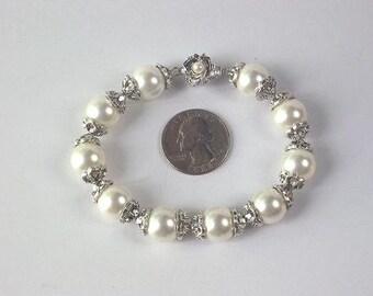 Bracelet 12mm White Shell Pearls Bali Silver Caps BHPW0019