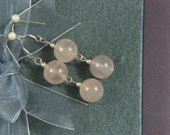 Earrings 2X Rose Pink Quartz 12mm Round Beads 925 ESQS1205