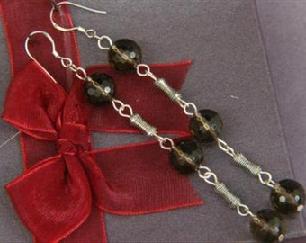 Earrings 3X Smokey Quartz 10mm Facet Round Beads 925 ESQS1761