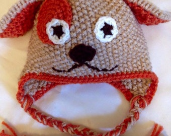 Knit puppy hat with ear flaps
