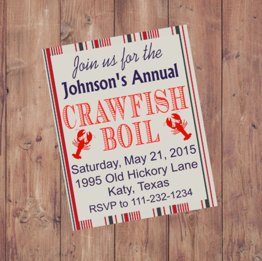 This is a graphic of Gorgeous Crawfish Boil Invitations Free Printable