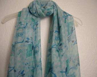 Owl Scarf, Pale Blue Hearts And Owl Scarf,  For Her, Spring Summer Scarf, Animal Scarf
