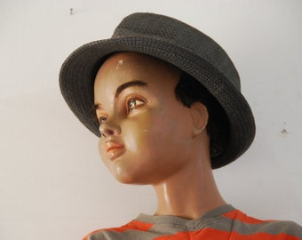 French vintage store display mannequin, child boy,  - 1950s estimate. Mannequin aspect of a 10yr old. Vintage decor.