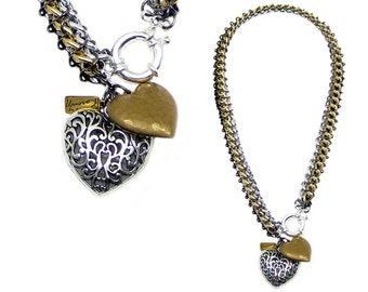 Black/Silver/Gold Chainmaile Necklace With Heart Charms