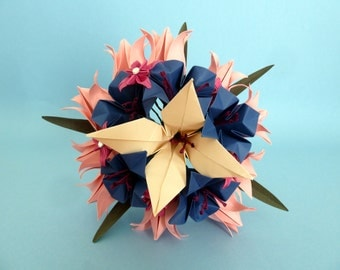 Wedding Bouquet - blue, pink and ivory - origami paper flowers - lily's flower, azahar, lothus, begonias