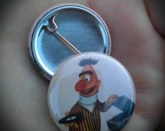 Pin Button Bert Vs. Vinyl, Multi Color Sesame Bert image by Dat Jam clothing