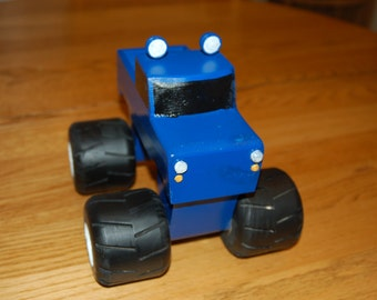 Hand made wooden monster truck toy