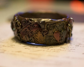Unique Handcrafted Alice Inspired Steampunk Bangle Industrial Fine Detail Polymer Clay Bracelet