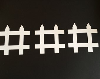 White Fence Card Stock Paper Cut Outs