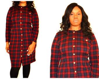 vintage knit dress/ vintage dresses/ long sleeve vintage dress/ Size 12