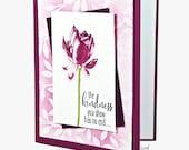Purple Lotus Blossom Thank You For Kindness Greeting Card Handmade