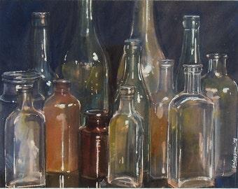 Bottles (original watercolor)