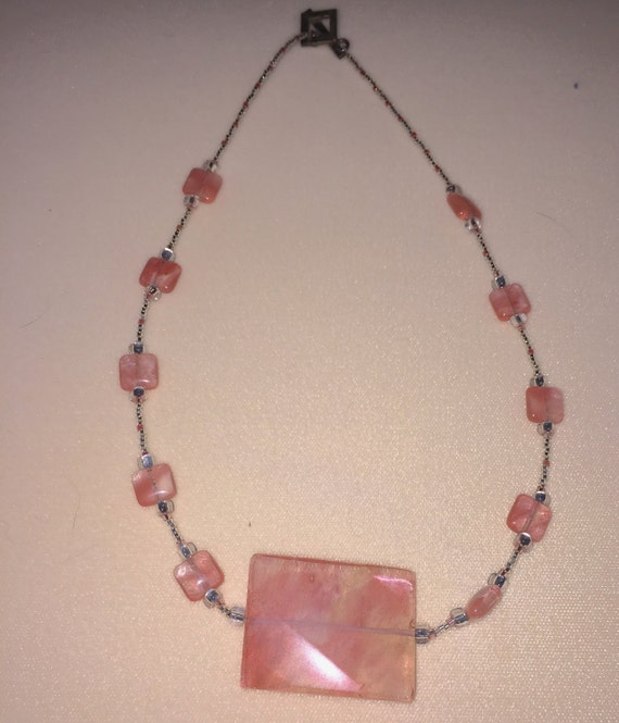 Coral Colored Pink Stone Beaded Necklace With By