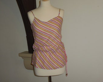 Vintage stripy cami top with glitter thread detail - Size S