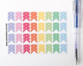 32 matte flag stickers, star stickers, banner bunting, planner stickers, scrapbook sticker, reminder checklist sticker