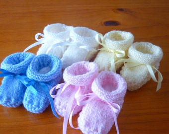 Hand Knitted Booties - 100% 3 Ply Merino Baby Wool