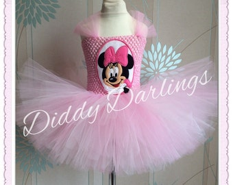 Minnie Mouse Tutu Dress.  Inspired Handmade Dress. All Sizes Fully Customised.Pink Minnie Mouse Tutu Dress. Pink Minnie Mouse Dress Applique