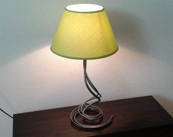 Bedroom bedside lamp wrought iron desk lamp handmade home decor bedside lighting green fabric lampshade