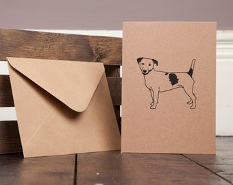 Jack Russell Dog Greetings Card Recycled Craft Dog Illustration Birthday Thank You