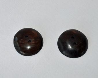 Ebony Wooden Buttons - Handmade Round - Ebony  - 2 buttons