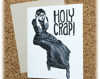 Holy Crap Horrified Woman Greeting Card Steam Punk Victorian Black & White